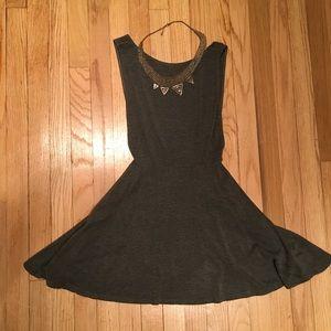 Gray Skater Backless Dress